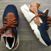 2017 Huarache ID Custom Breathe Running Shoes For Men Women,Woman Mens navy blue tan A