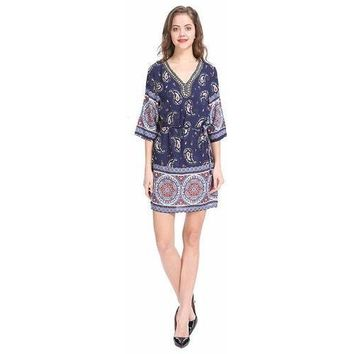 Women's Rayon Tunic Dresses with Embellished Neckline - Ornate