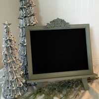 Decorative Framed Chalkboard with Easel - Magnetic Chalk board - Shabby Chic Christmas Large Magnet Green  - Wood Frame