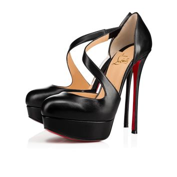Christian Louboutin Cl Decalcoco Black Leather 18s Platforms 1180319bk01 - Best Online Sale