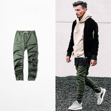kanye west hip hop clothing men joggers jumpsuit chino /Green side zipper harem justin bieber pants