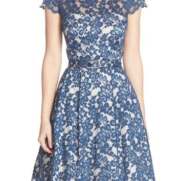 Eliza J Belted Lace Cap Sleeve Fit & Flare Dress (Regular & Petite) | Nordstrom