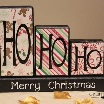 Ho Ho Ho Merry Christmas Wood Blocks Decor