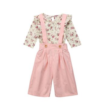 2PCS Toddler Kids Baby Girl Long Sleeve Floral T-shirt Tops+Pink Bib Pant Overall Wide Leg Trouser 2PCS Outfits Children Clothes