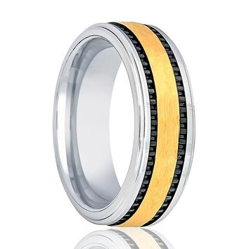 Aydins Gold & Silver Mens Tungsten Wedding Band Brushed 8mm Black Stripes On Side Tungsten Carbide Wedding Ring
