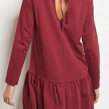 No Going Back Dress   Maroon