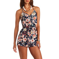 STRAPPY BRAIDED FLORAL PRINT WRAP ROMPER