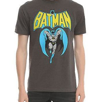 Licensed cool NEW DC  Batman RETRO Bat Man Running Heather Grey Gray MEN'S Tee T-Shirt S