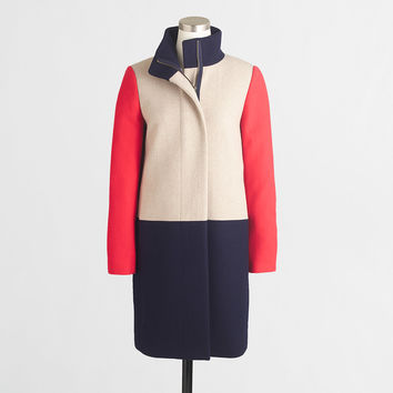 Factory high-collar coat in colorblock : Outerwear | J.Crew Factory