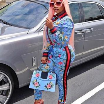 New Women Blue Floral Print Two Piece High Waisted Long Sleeve Denim Long Jumpsuit