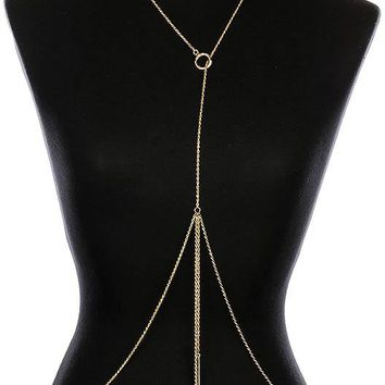 Gold Double Metal Rod Center Ring Body Chain