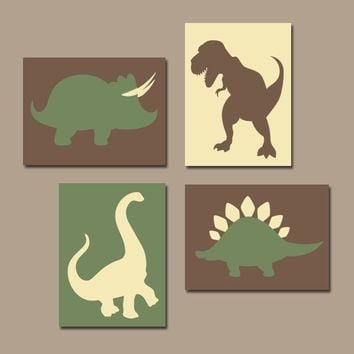 DINOSAUR Wall Art, DINOSAUR Canvas or Prints, Dinosaur Theme Decor, Baby Boy Nursery Decor, Big Boy Room Art, DINO Silhouettes Set of 4