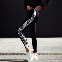 Print Alphabet Fitness Workout Leggings [9328129348]