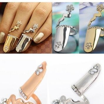 ONE PIECE Punk Crystal Flower Silver Gold Plated Nail Ring Claw Finger Tip Art Rings