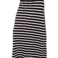 Isobel Stripe Maxi Skirt - Black