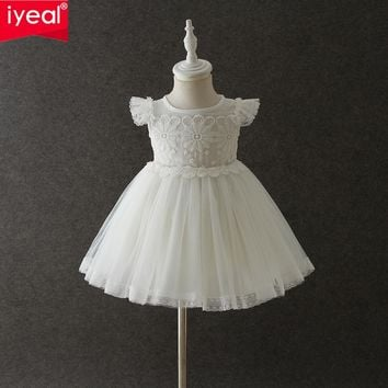 IYEAL Fashion Formal Newborn Wedding Dresses Baby Girl Lace Pattern For Toddler Infant 1 Years Birthday Party Baptism Dress