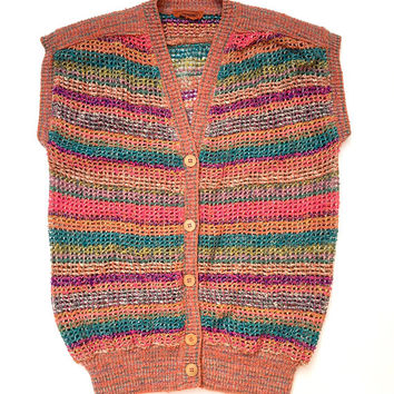 MISSONI!!! Vintage 1970s 'Missoni' knitted sleeveless vest with multicoloured stripes and button front / Made in Italy