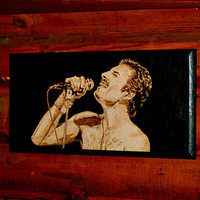 Freddie Mercury woodburned home decoration