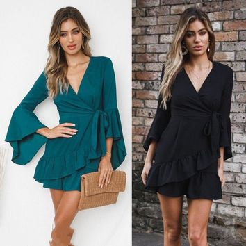 Women Summer Boho Ruffle Long Flare Sleeve Solid Color Short Mini Dress V Neck Lace up Beach Elegant Sundress