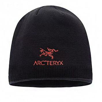 """Arcteryx"" Autumn Winter Popular Women Men Embroidery Knit Hat Cap Black"