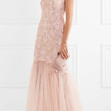 Marchesa Notte - Embroidered embellished tulle gown