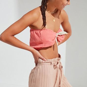 Urban Renewal Remade Tie-Front Linen Tube Top | Urban Outfitters