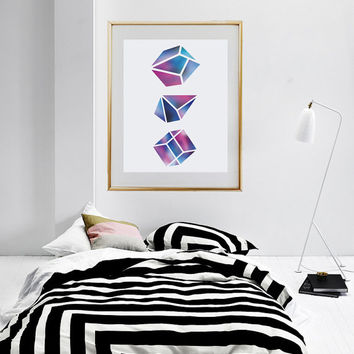 Gem Print, Wall Decor, Crystal Print, Crystal Poster, Geometric Print, Minimal Art, Modern Art, Abstract