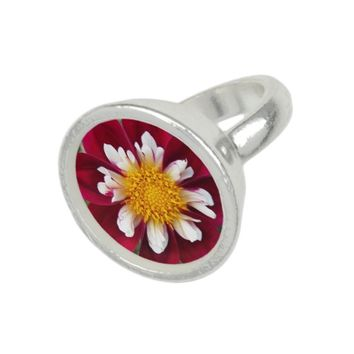 Red Collarette Dahlia Floral Photo Ring