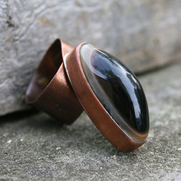 copper ring, onyx ring, gemstone ring, handmade ring, raw ring, oranic ring, statement ring, adjustable ring, black onyx gemstone, OOAK