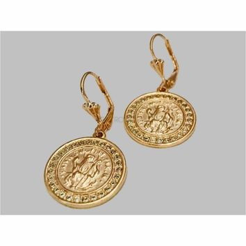 Cz Coin Earrings 18k of Gold Plated