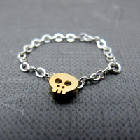 Tiny Skull Chain Ring // 14K Matte Gold Skull Charm // Silver Plated Chain // Halloween Gift