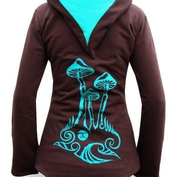Womens Deeper Hoodie - Chocolate / Topaz / Mushroom - Made To Measure