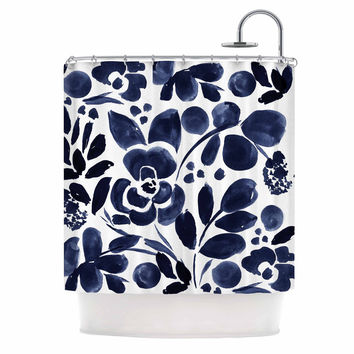 "Crystal Walen ""Watercolor Floral"" - Navy Painting Shower Curtain"