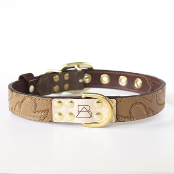 Camo Dog Collar with Tan Leather + Brown and White Stitching