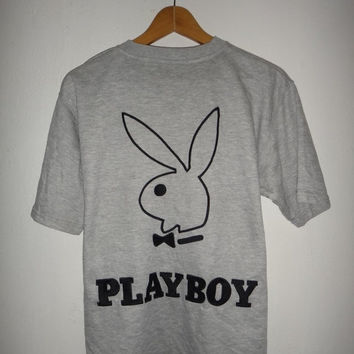 New Year Sale Playboy V Neck Shirt High Fashion Bunny Grey Swag Hip Hop Rap High street  Rabbit head Unworn Medium