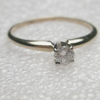 Vintage 14kt Yellow Gold .20 ctw Diamond Engagement Ring, size 9.25