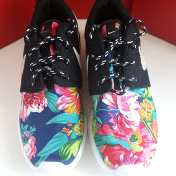 custom nike roshe run sneakers womens black athletic shoes with fabric floral and blinged with swarovski crystals