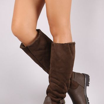 Riding Knee High Boots For Women By Qupid | Women Boots Suede Faux Fur Lined Riding Knee High Boots A Soft Vegan Suede Shaft With Cozy Faux Fur Lining Rounded Toe Lug Sole And Low Block Heel
