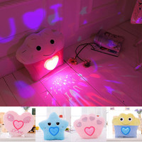 Cute Kawaii Colorful Light Projector Plush Pillow - Cupcake, Heart, Paw, Star (8 Styles) sold by Sweet Stuff!