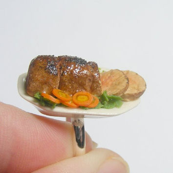 Scented or Unscented Roast Beef Miniature Food Ring - Miniature Food Jewelry,Handmade Jewelry Ring