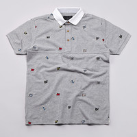 Flatspot - I Love Ugly Flag Polo Shirt Grey Marle