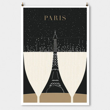 SALE Paris print, Eiffel Tower Minimalist Large art print Travel Poster, Modern Art Deco Poster Print, Paris Bedroom Art Gift for Girlfriend