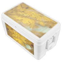 Yellow autumn maple leaves. Add you text or name. Chest Cooler