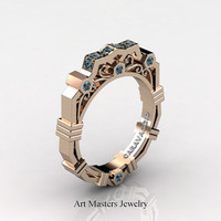 Caravaggio Modern 14K Rose Gold Blue Topaz Wedding Band R624B-14KRGBT