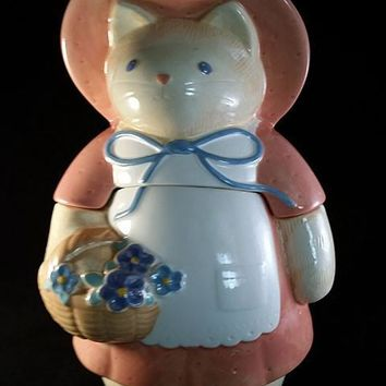 Cat Cookie Jar with Pink Dress