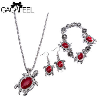 GAGAFEEL Tortoise Jewelry Sets Women Bijoux Big Glass Earrings Animal Pendant Necklace Classic Bracelet Little Turtle Accessorie