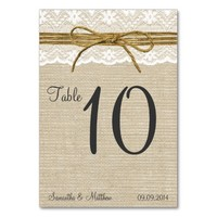 Ivory Lace & Rustic Twine Bow Burlap Table Numbers