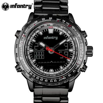 INFANTRY Mens Watch Tactical Military Army Analog Digital Multifunction Sport Wrist Watch Full Stell Men Watch Relogio masculino