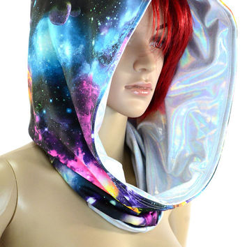 UV Glow Galaxy and Silvery Holographic Cowl Hoodie Festival Rave Clubwear Hood Reversable   -E8220