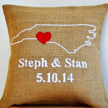 Burlap Pillows- State Pillow- Embroidered pillow- Personalized Pillow- Name , Date Cushion- Gift- 16x16- Burlap Cushion- California Pillow